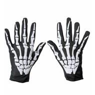 Karnevalszubehör: Handschuhe mit Skelettmotiv