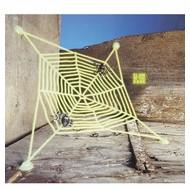 Halloween Accessoires: spinnennetz mit 2 spinnen leuchtend im Dunkle