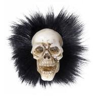 Halloweenaccessoires: Schädelbrosche mit Federn