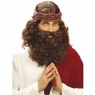 Karnevalsperücke \'\'Jesus\'\' mit Bart und Schnurrbart