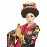 Geisha Perücke mit Blumen