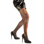 Halloweenaccessoires: Teufel Strumpfhose hot-flame