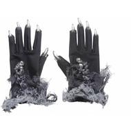Halloweenaccessoires: Hexen Handschuhe mit silbernen Nägeln