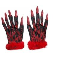 Halloweenaccessoires: Teufel Handschuhe