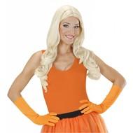 Karnevals-zubehör Lange Handschuhe neon-orange