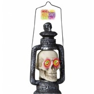 Halloweenaccessoires: Schädellaterne mit Licht 35 cm