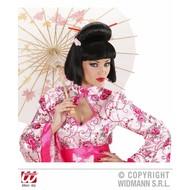 Faschingsperücke: Geisha mit Blume und Stäbchen