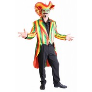 Party-kleidung: Frackmantel rot/grün/gelb
