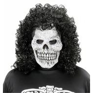 Halloweenmaske: Schädel mit Lockenperücke