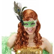 Augenmasken grün mit Feder