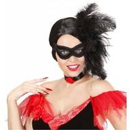 Augenmasken in schwarz mit Federn