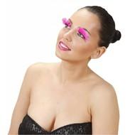 Faschings-attributen Augen-wimper mit rosa Federn