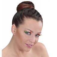 Faschings-accessoiren Wimpern in Länder-farben mit Klebstoff