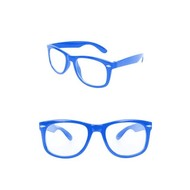 Bril Blues Brother blauw met blanke glazen