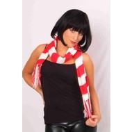 Rood-wit gebreide sjaal 20x150cm