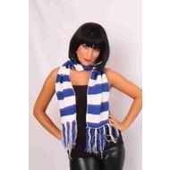 Blauw-wit gebreide sjaal 20x150cm