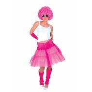 Tule rok stroken fluor pink