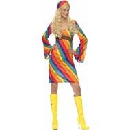 Regenboog hippie kostuum
