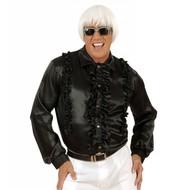 Carnavalspak Rouchen blouse satijn, zwart