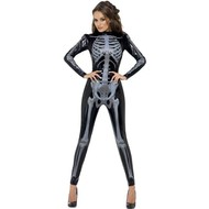 Skelet catsuit dames