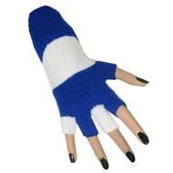 Blauw - witte vingerloze handschoenen