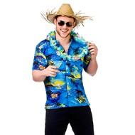 Hawaii Shirt met palmbomen blauw