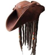 Caribische piraten hoed met haar