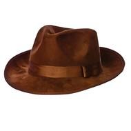 Bruine suede fedora hoed