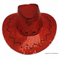 Cowboyhoed rood pailletten glitter