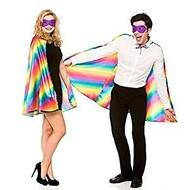Mooie regenboog cape met oogmasker