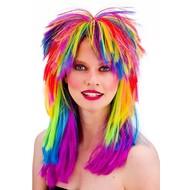Regenboog pruik 80- jaren pop