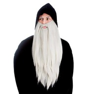 Licht grijze extra lange baard