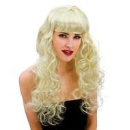 Pruik Foxy lang haar met krullen blond