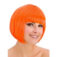 Pruik Diva boblijn neon oranje