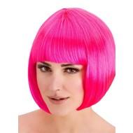 Pruik Diva boblijn neon roze