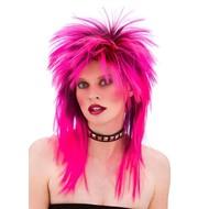 Rocker pruik neon roze 80-jaren