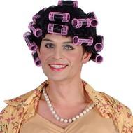 Pruik huisvrouw Stientje met krulspelden