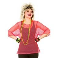 Visnet t-shirt 80-jaren neon roze