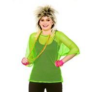Visnet t-shirt 80-jaren neon groen