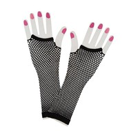 Vingerloze lange net-handschoenen zwart