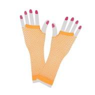 Vingerloze lange net-handschoenen neon oranje