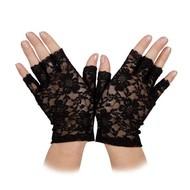Kanten handschoenen kort in zwart