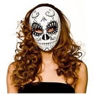 Luxe day of the dead masker wit zwart