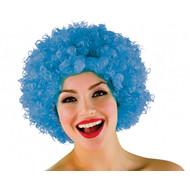 Funky Afro pruik in blauw