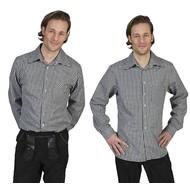 Tiroler blouse zwart wit geblokt