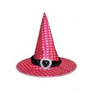 Heksen hoed roze met stippen