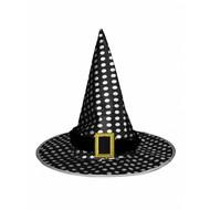 Heksen hoed zwart met stippen