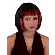 Pruik sexy Holly zwart met rood