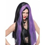 Heksenpruik met paarse lokken