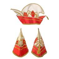 Prinsenmuts rood/wit luxe met steentjes